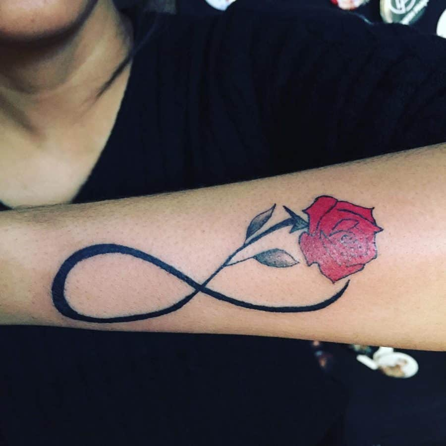 Red Rose Black Line Flowers Infinity Tattoo