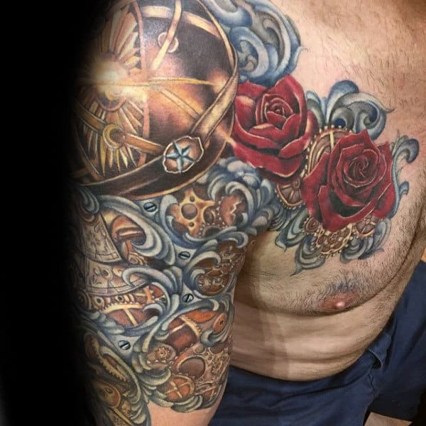 Red Rose Flower Filigree Mens Half Sleeve And Chest Tattoo
