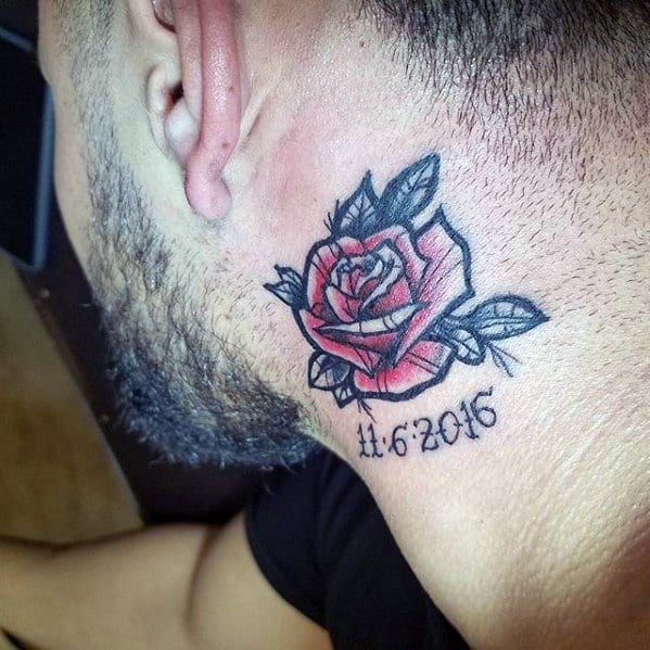 Red Rose Flower Memorial Guys Side Of Neck Small Tattoos