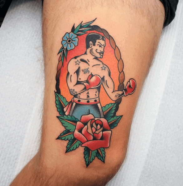 Red Rose Flower With Boxer Mens Traditional Thigh Tattoos