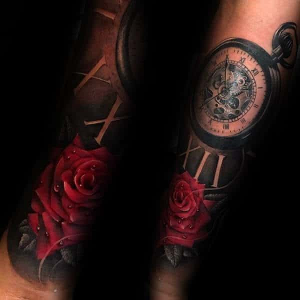Red Rose Flower With Pocket Watch Male Roman Numeral Tattoo Designs