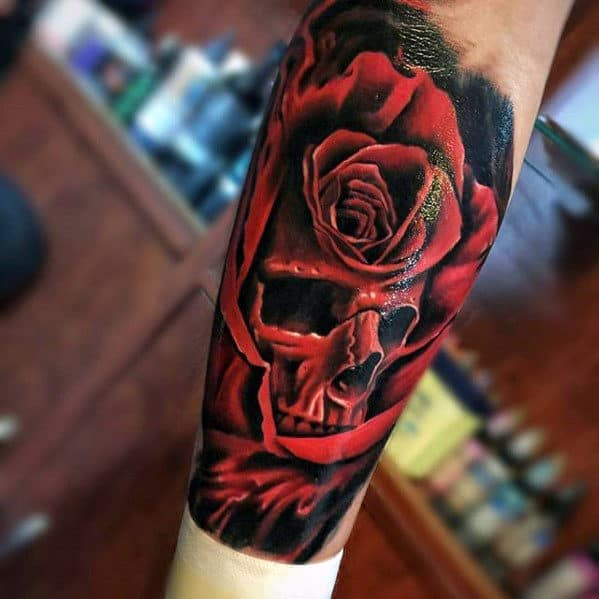 Red Rose Flower With Skull Realistic Inner Forearm Tattoos For Guys