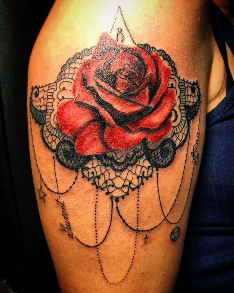 Red Rose Lace Realistice Tattoo