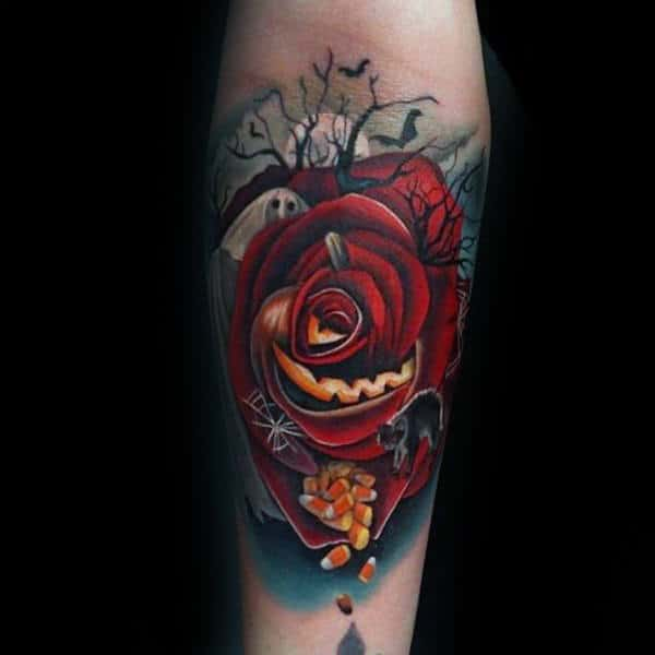 Red Rose Petal Candies Halloween Tattoo Male Forearm