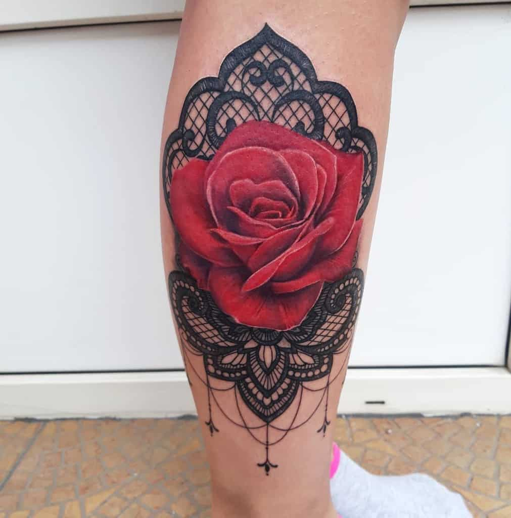 Red Rose Realistic Tattoo