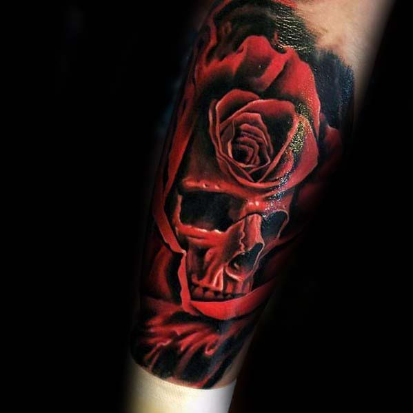 Red Rose Skull Badass Guys Forearm Tattoo Ideas