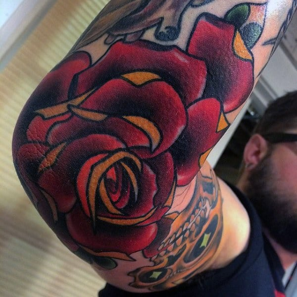 Red Rose Tattoo On Elbow For Men