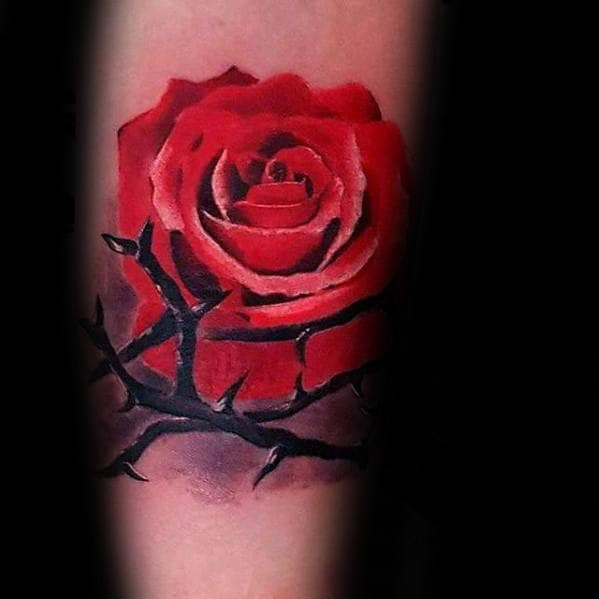 Red Rose With Thorns Mens Realistic 3d Inner Forearm Tattoo