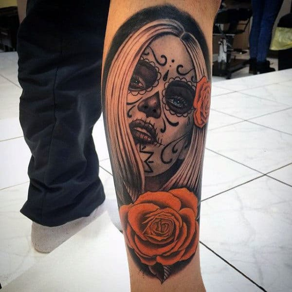 Red Roses And Lovely Day Of The Dead Woman Tattoo Guys Forearms