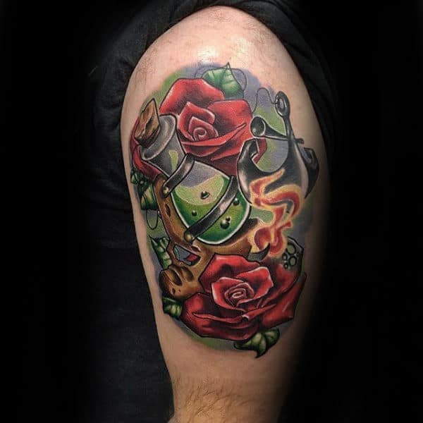 Red Roses New School Tattoo Male Arms