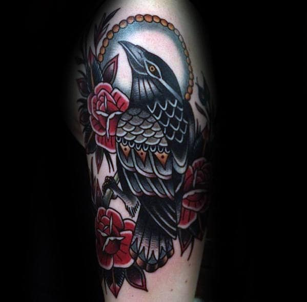 Red Roses With Traditional Crow Guys Old School Vintage Arm Tattoo Ideas
