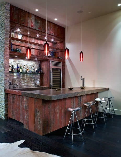 Red Rustic Bar Ideas