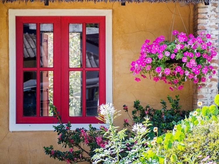 Red Stucco Exterior Window Trim
