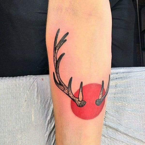 Red Sun Antler Small Mens Forearm Tattoos