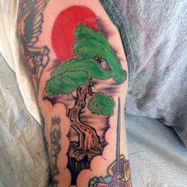 Red Sun Bonsai Tree Old School Mens Arm Tattoo