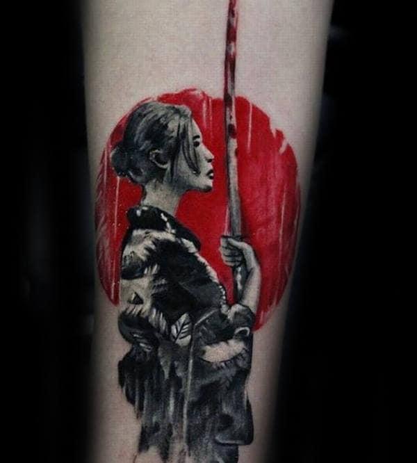 Red Sun Mens Katana Sword Inner Forearm Tattoo