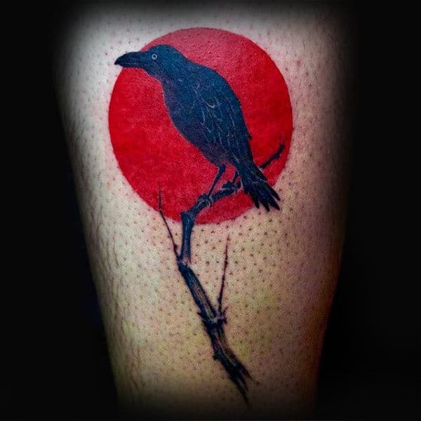 Red Sun Small Crow Tattoos For Males