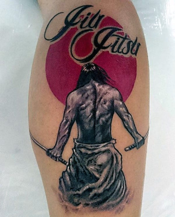 Red Sun Warrior Jiu Jitsu Mens Leg Tattoos