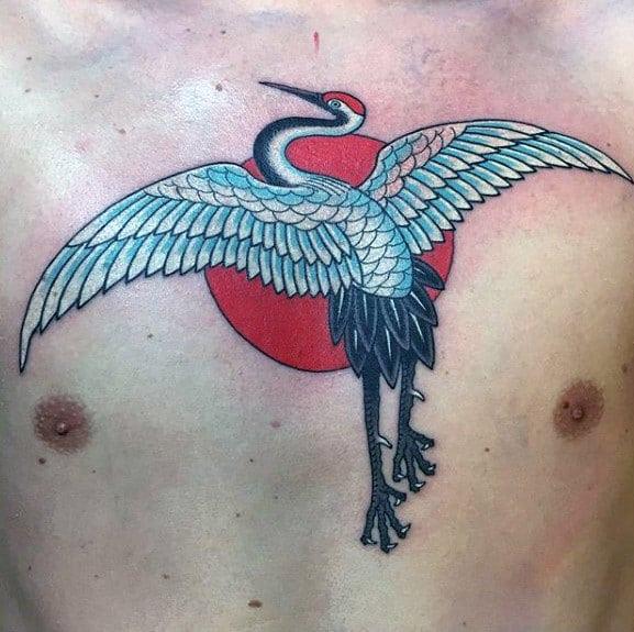 Red Sun With Crane Bird Male Upper Chest Tattoo Ideas