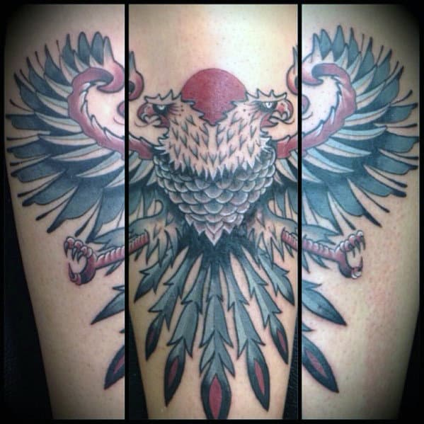 Red Sun With Double Headed German Eagle Mens Arm Tattoo