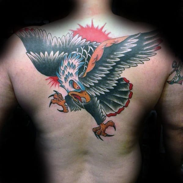 Red Sun With Eagle Male Back Tattoo Designs