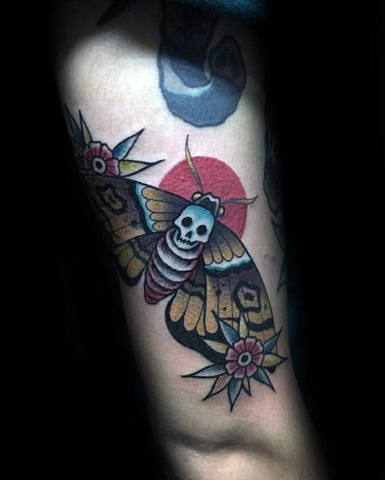 Red Sun With Moth Mens Traditional Arm Tattoos