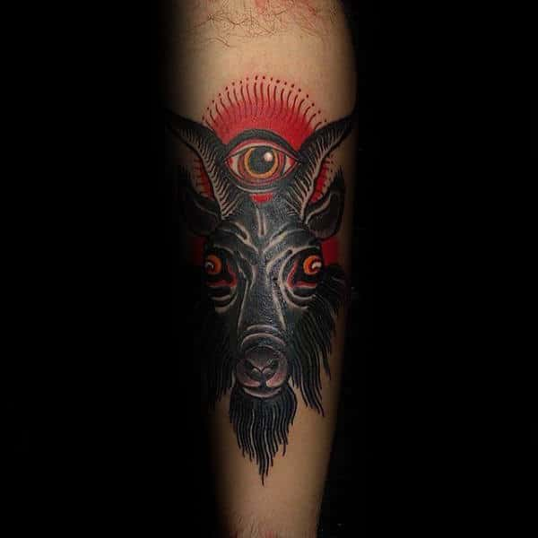 Red Sunrise With Eye And Goat Mens Forearm Tattoos