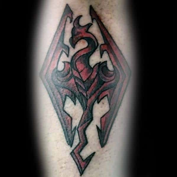 Red Symbol Arm Skyrim Tattoos For Gentlemen