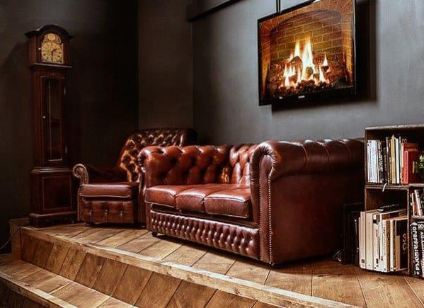 Red Tan Bachelor Pad Furniture Sofa And Chair