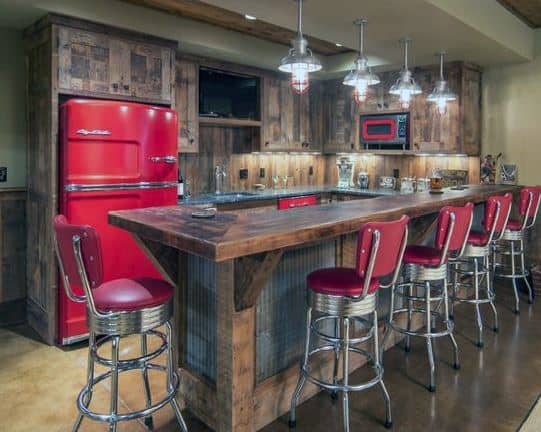 Red Themed Barn Wood Garage Bar Ideas