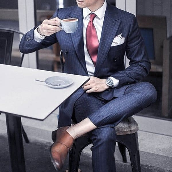 Red Tie White Pocket Square Male Navy Blue Suit Brown Shoes Styles