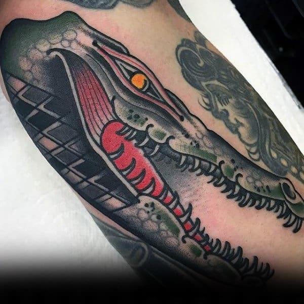 American traditional alligator tattoo