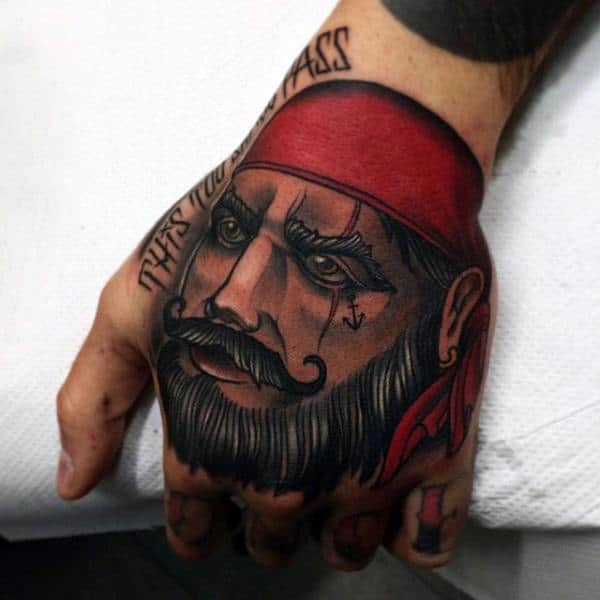 Red Turbaned Interesting Pirate Tattoo Male Hands