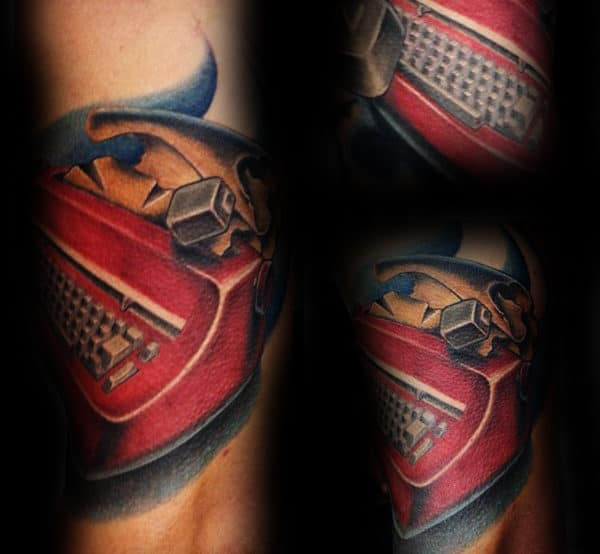 Red Typewriter Mens Arm Tattoo Designs