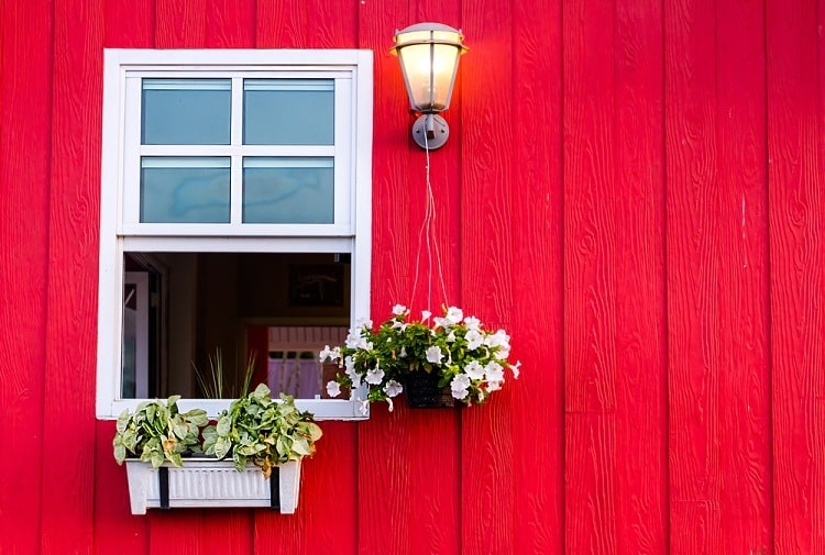 Red Wall Exterior White Window Trim