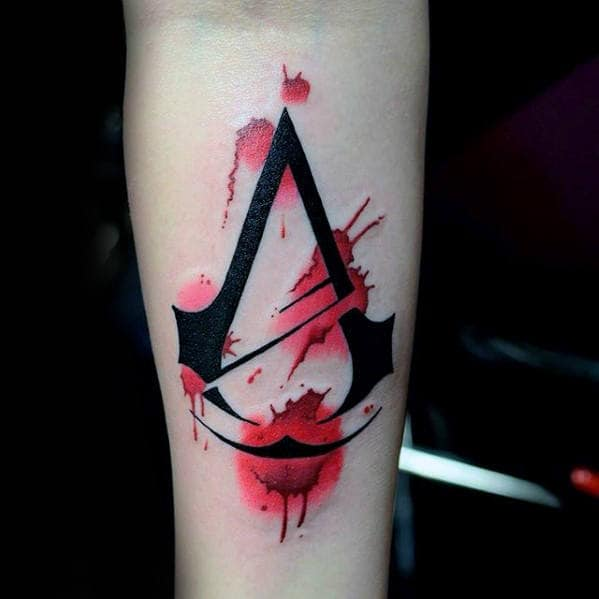 4a0d389fc2721 Red Watercolor With Black Ink Design Guys Assassins Creed Inner Forearm  Tattoo