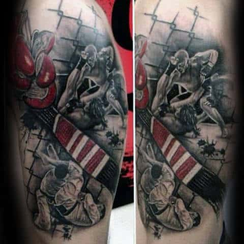 Red White And Black Belt Male Jiu Jitsu Leg Tattoos