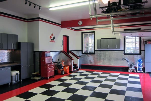 Red White And Black Finishing Garage Walls Interior