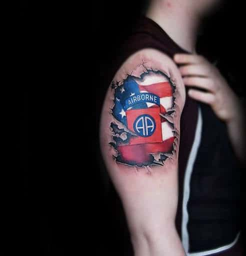 Red White And Blue Airborne Torn Skin Mens 3d Upper Arm Tattoos