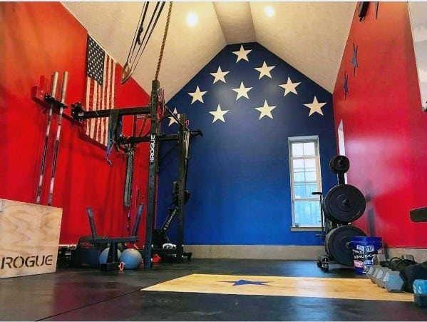 Red White And Blue American Flag Themed Garage Gym Ideas