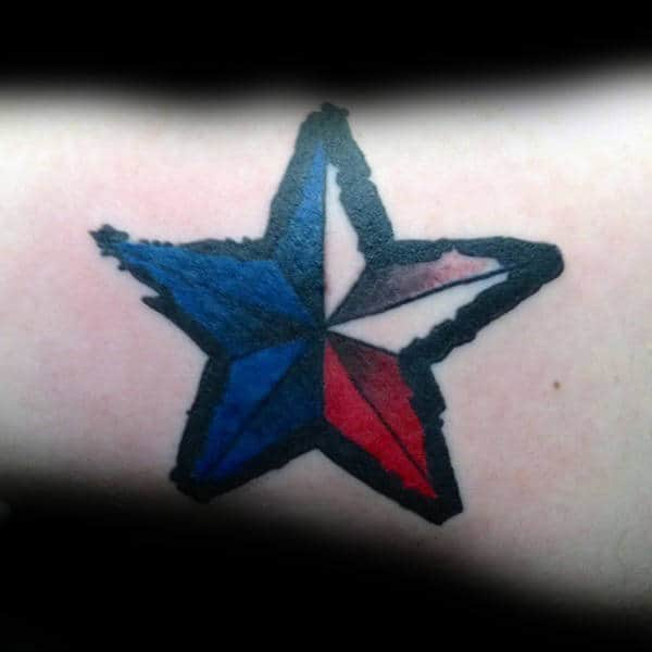 Red White And Blue Male Nautical Star Tattoo On Arms