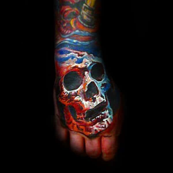 Red White And Blue Skull Hand Tattoos For Guys