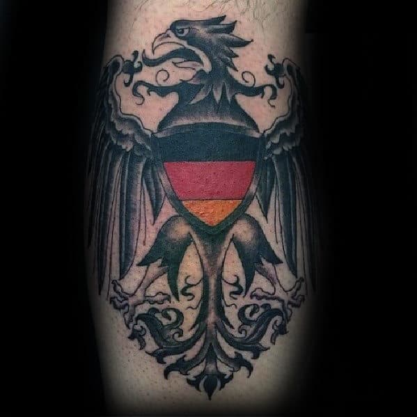 Red Yellow And Black Mens Traditional German Eagle Leg Tattoo