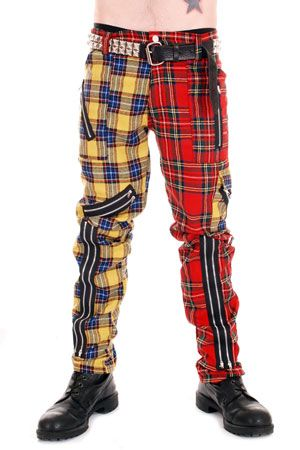 Men's yellow and red plaid pants with zippers.