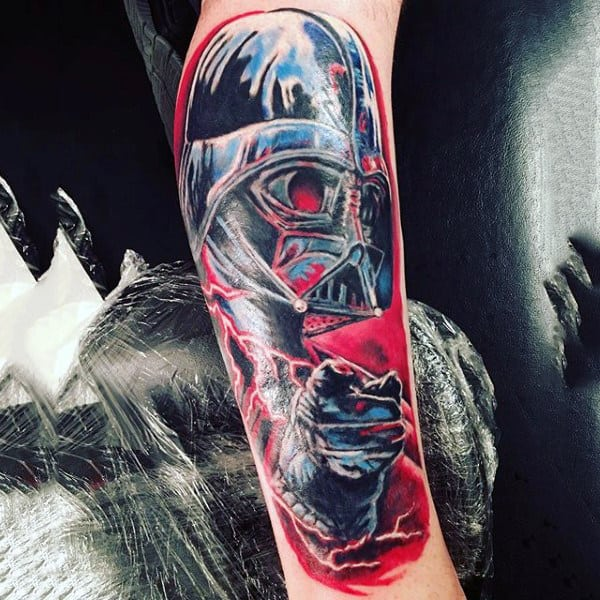 Reddish Darth Vader Tattoo Male Forearms