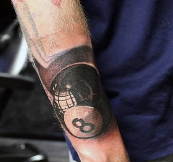 Reflection 3d Realistic Mens 8 Ball Forearm Tattoos