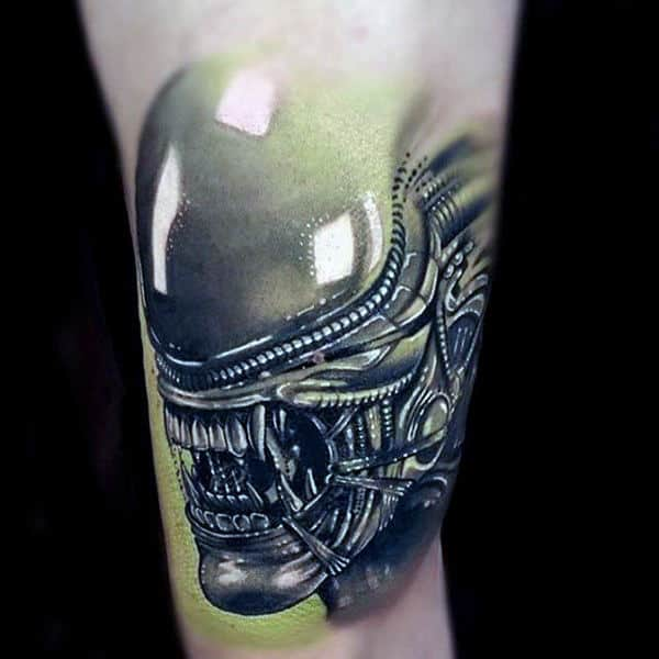 Reflective 3d Alien Male Arm Tattoos