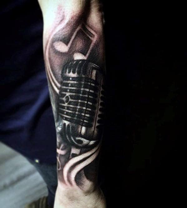 Reflective Music Note Microphone Mens Forearm Sleeve Tattoo