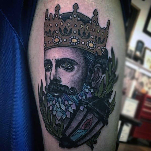 Regal King With Beautiful Crown Tattoo On Biceps Men