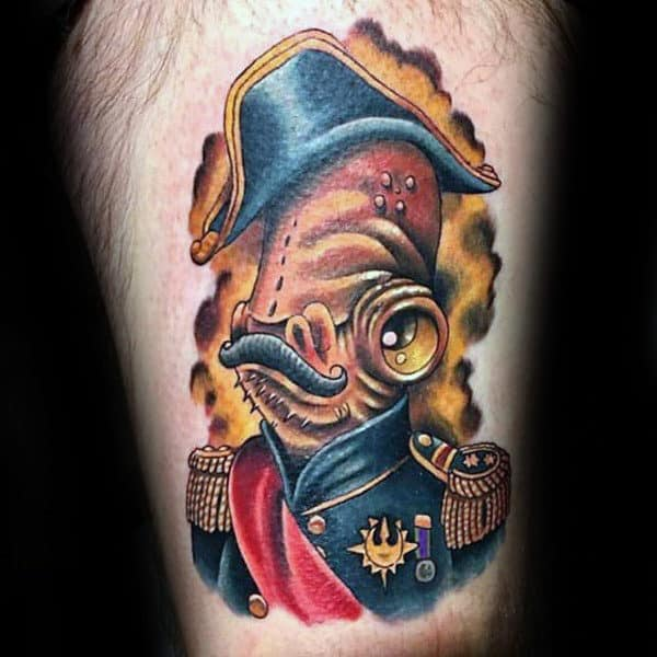 Regal Moustached Man Star Wars Tatoo Male Forearms